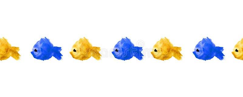 Τα άνευ ραφής σύνορα ή το πλαίσιο του ζωηρόχρωμου watercolor σκιαγραφούν τα ψάρια που γίνονται υπό μορφή λεκέδων, λεκέδες σε ένα  απεικόνιση αποθεμάτων