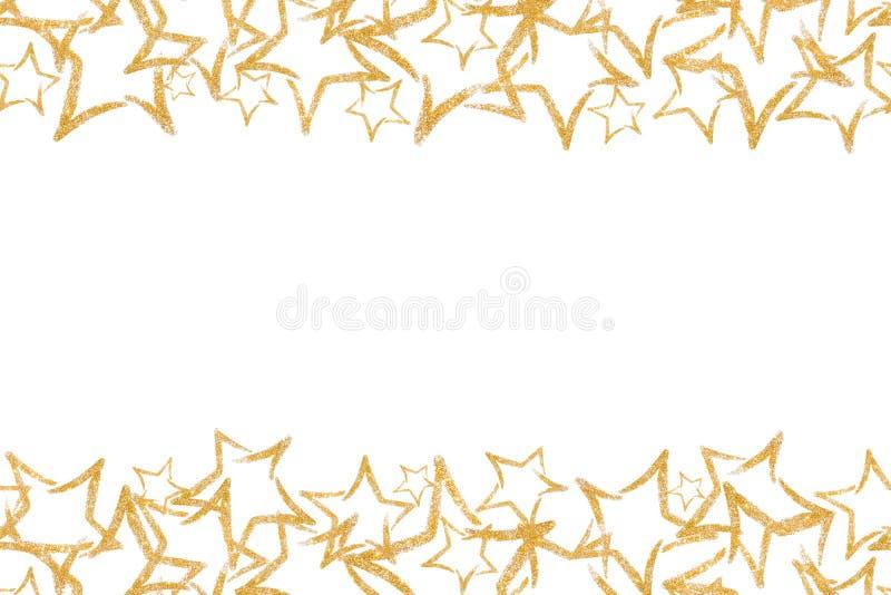 Τα άνευ ραφής σύνορα με το χρυσό ακτινοβολούν αστέρι Τσέκια Χρυσός λάμψτε σκόνη ακτινοβολήστε ελεύθερη απεικόνιση δικαιώματος