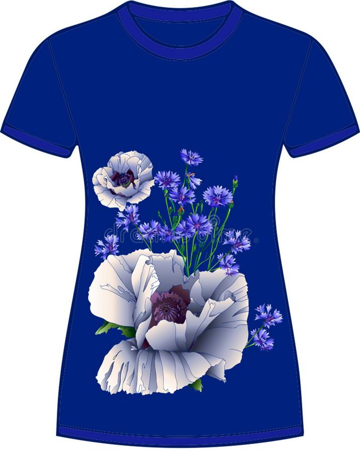 Τα άνθη είναι λευκά παπαρούνια Μπλε φόντο, trendy color 2020 διανυσματική απεικόνιση