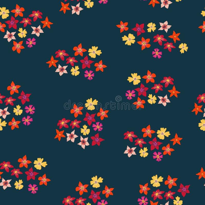 Τα άνθη συμπλέκουν απρόσκοπτα μοτίβα Ροζ κόκκινο πορτοκαλί κίτρινο χρώμα φόντο λεύκωμα Επανάληψη πλακιδίων νάρκες, Daffodil στοκ εικόνες
