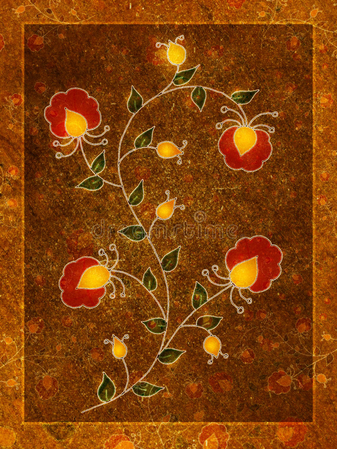 τα άνθη τέχνης ανθίζουν το χρυσό κόκκινο ελεύθερη απεικόνιση δικαιώματος
