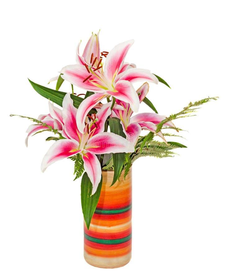 Τα άσπρα και ρόδινα λουλούδια Lilium, (κρίνος, lillies) ανθοδέσμη, floral ρύθμιση, κλείνουν επάνω, απομονωμένο, άσπρο υπόβαθρο στοκ φωτογραφίες