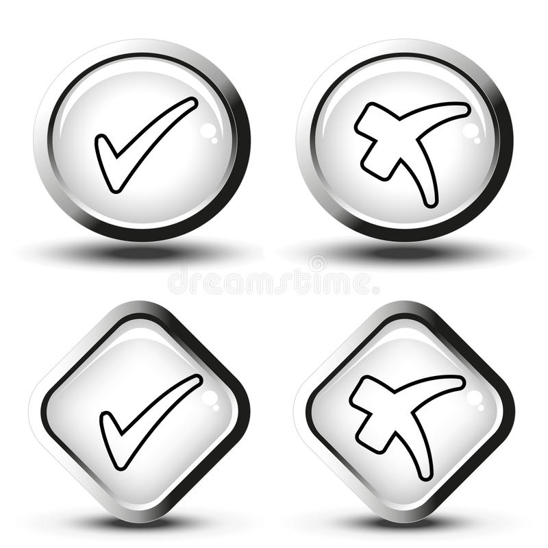 Τα άσπρα κουμπιά με το μαύρο απλό έλεγχο γραμμών χαρακτηρίζουν τα σύμβολα, τα κουμπιά τετραγώνων και κύκλων ελεύθερη απεικόνιση δικαιώματος