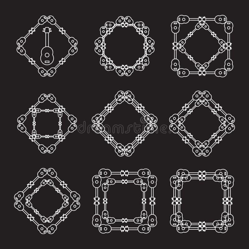Τα άσπρα πλαίσια μονογραμμάτων γραμμών Ukulele θέτουν χρησιμοποιημένος για το λογότυπο, το εικονίδιο, και το υπόβαθρο διανυσματική απεικόνιση