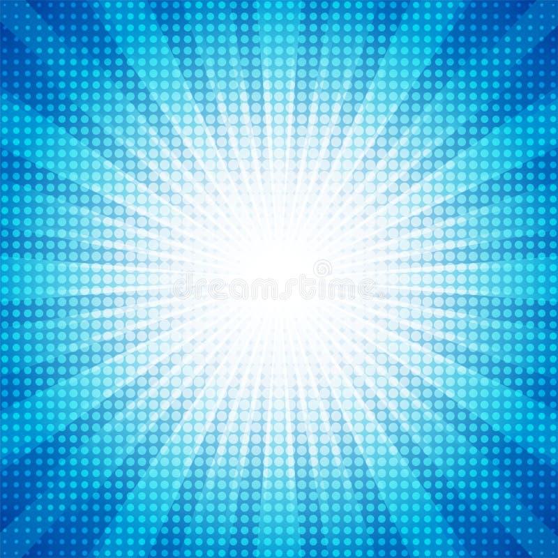 Τα άσπρα σημεία ημίτοά με το μπλε αφηρημένο αστέρι εκρήγνυνται την αφηρημένη έννοια υποβάθρου διανυσματική απεικόνιση