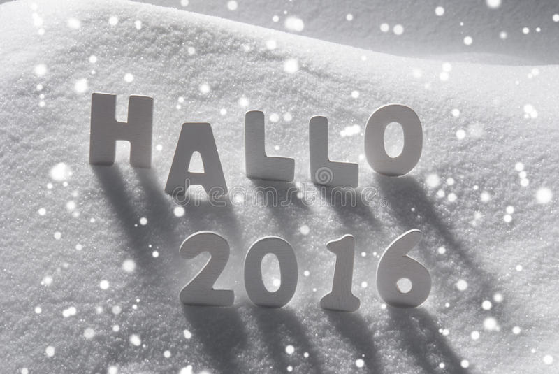 Τα άσπρα Χριστούγεννα Word Hallo 2016 σημαίνουν γειά σου στο χιόνι, Snowflakes στοκ φωτογραφία με δικαίωμα ελεύθερης χρήσης