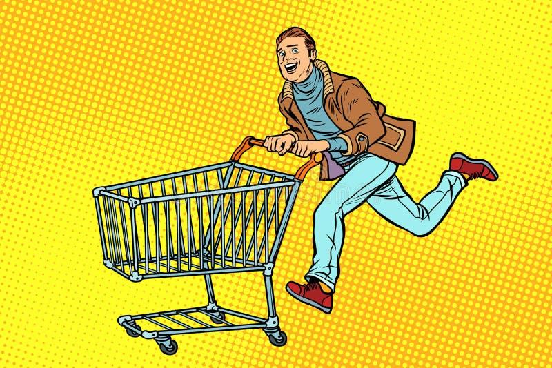 Τα άτομα είναι στην πώληση καροτσάκι καταστημάτων κάρρων αγορών απεικόνιση αποθεμάτων
