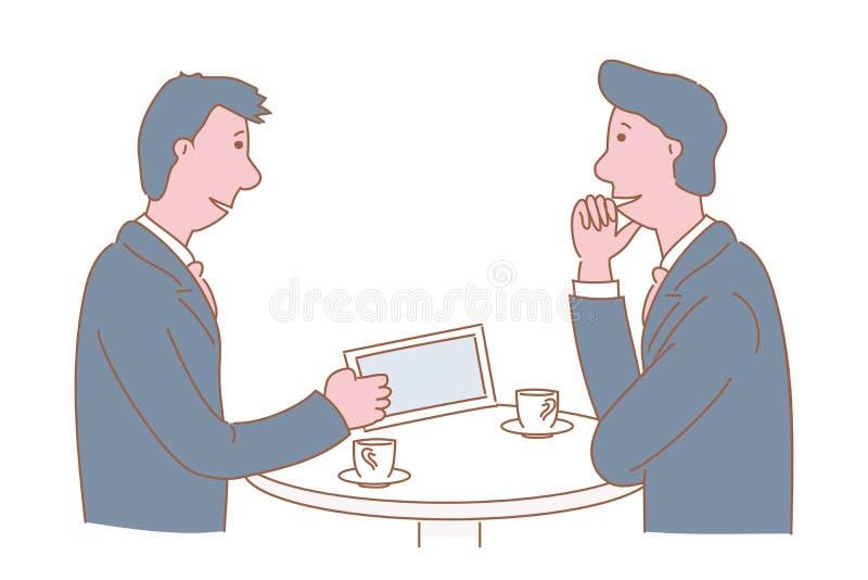 Τα άτομα μιλούν για την εργασία στην επιχείρηση κατά τη διάρκεια ενός διαλείμματος Συρμένη χέρι απεικόνιση σχεδίου ύφους διανυσμα απεικόνιση αποθεμάτων