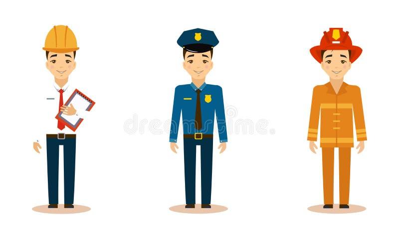 Τα άτομα των διαφορετικών επαγγελμάτων θέτουν, μηχανικός, αστυνομικός, πυροσβέστης, διανυσματική απεικόνιση εργαζομένων σε ένα άσ διανυσματική απεικόνιση