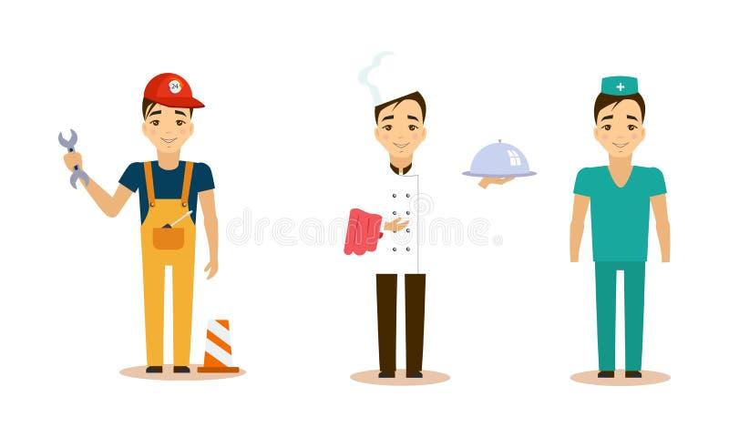 Τα άτομα των διαφορετικών επαγγελμάτων θέτουν, σερβιτόρος, γιατρός, επιστάτης, διανυσματική απεικόνιση εργαζομένων σε ένα άσπρο υ διανυσματική απεικόνιση