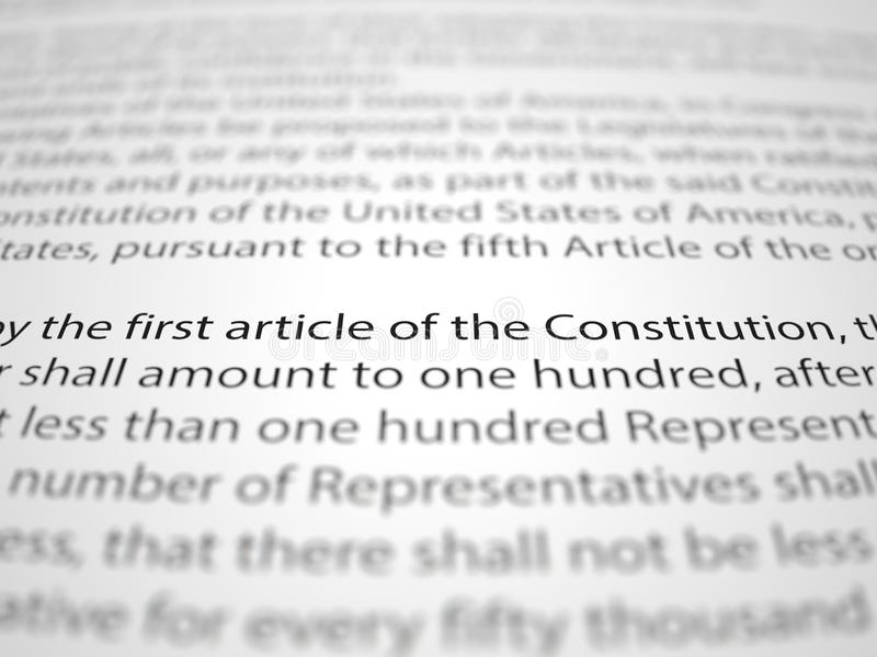 Τα έγγραφα Πρώτων Τροπολογιών με το βάθος της επίδρασης τομέων στοκ εικόνες
