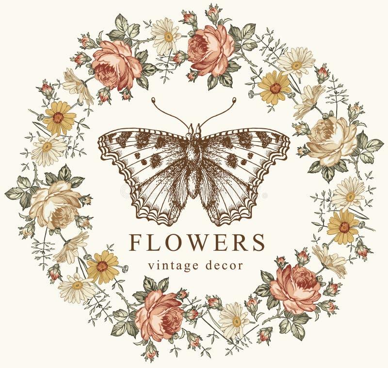 Τα έντομα πεταλούδων μπαρόκ αυξήθηκαν Chamomile λουλουδιών εκλεκτής ποιότητας πλαισίων καρτών σχέδιο χάραξης απεικόνισης ταπετσαρ στοκ φωτογραφίες με δικαίωμα ελεύθερης χρήσης