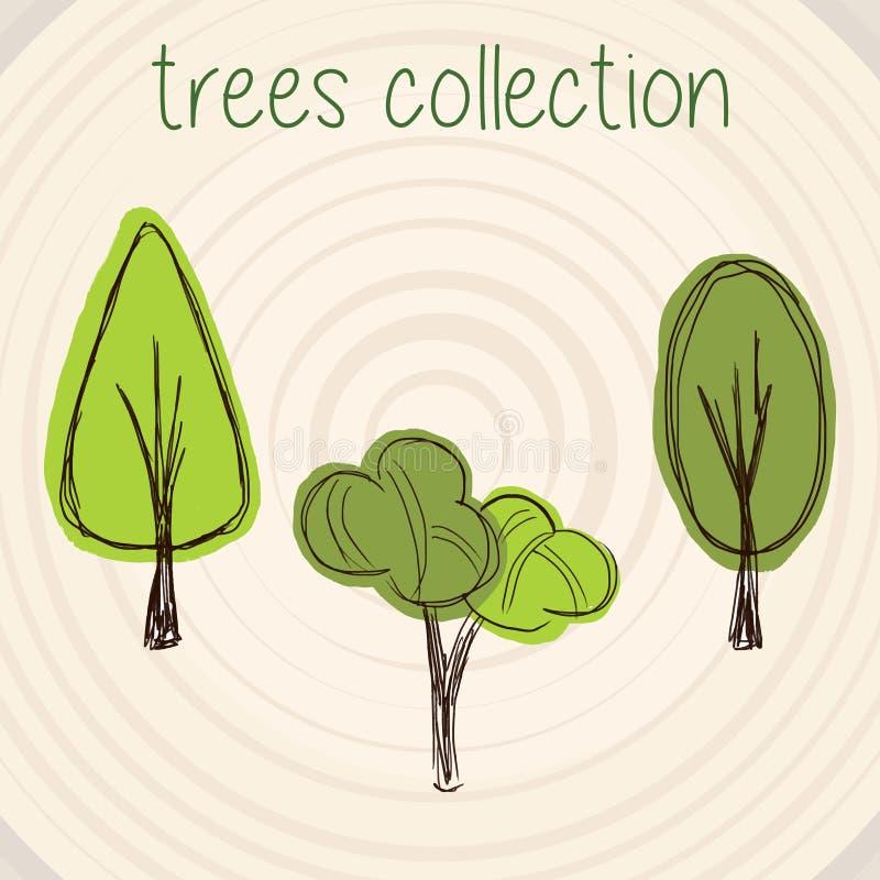 Τα δέντρα χρωματίζουν τη διανυσματική επιλογή απεικόνιση αποθεμάτων