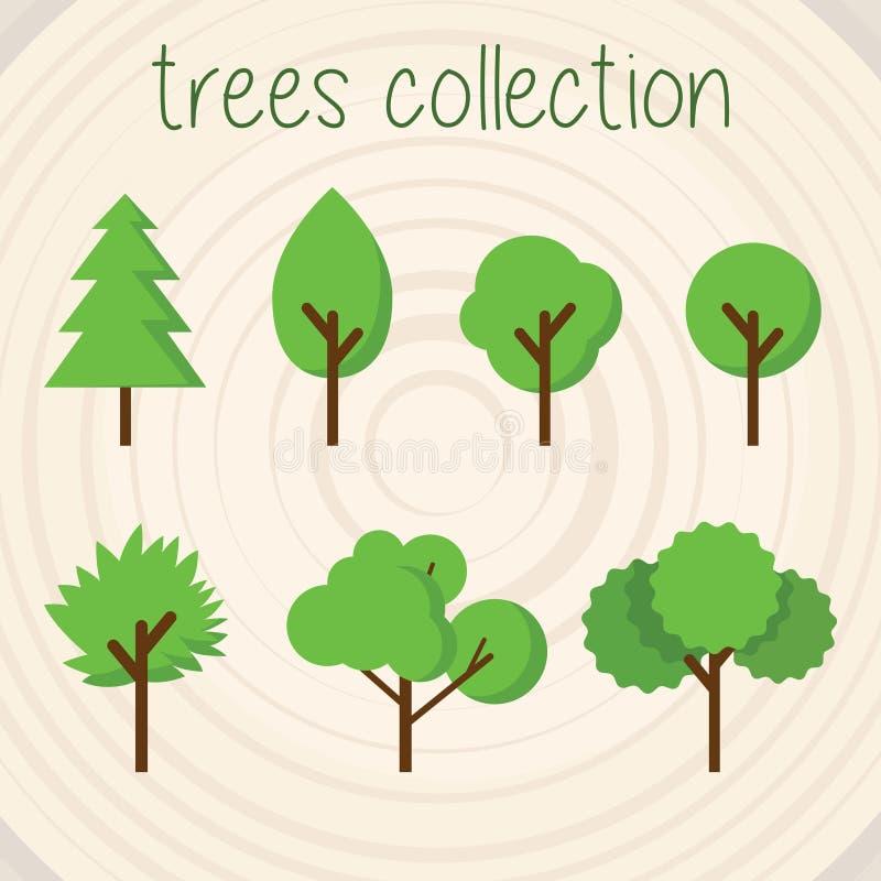 Τα δέντρα χρωματίζουν τη διανυσματική επιλογή ελεύθερη απεικόνιση δικαιώματος
