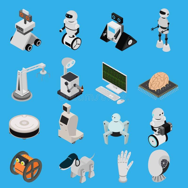 Τα έξυπνα εικονίδια συσκευών τεχνολογιών καθορισμένα τη Isometric άποψη διάνυσμα απεικόνιση αποθεμάτων