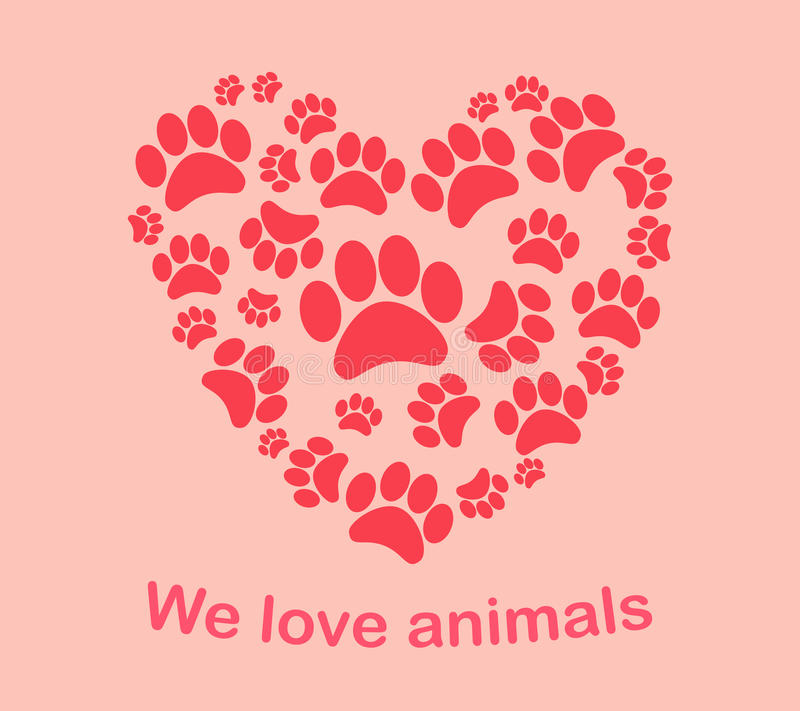 Τα ίχνη του ζώου καρδιών τυπώνουν εμείς αγαπούν τα ζώα απεικόνιση αποθεμάτων
