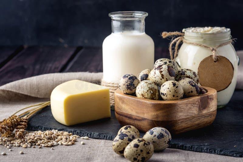 Τα αγροτικά προϊόντα Eco αρμέγουν, τυρί, ξινή κρέμα, γιαούρτι, αυγά στο σκοτεινό ξύλινο υπόβαθρο Έννοια των κατ' οίκον γίνοντων φ στοκ εικόνες με δικαίωμα ελεύθερης χρήσης