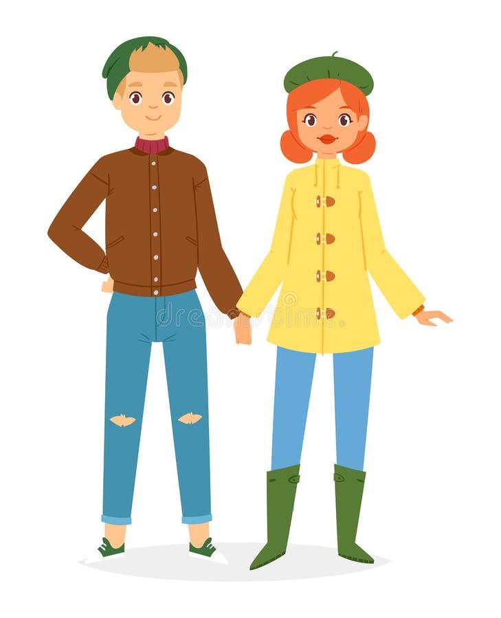 Τα αγόρια και τα κορίτσια ζευγών μόδας φαίνονται διανυσματικό όμορφο κορίτσι ενδυμάτων και ντύνουν επάνω ή ιματισμός με τα φορέμα απεικόνιση αποθεμάτων