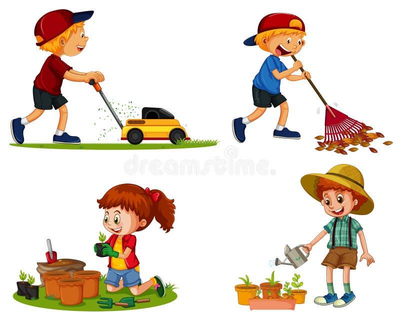 Τα αγόρια και το κορίτσι κάνουν τις διαφορετικές εργασίες κηπουρικής απεικόνιση αποθεμάτων