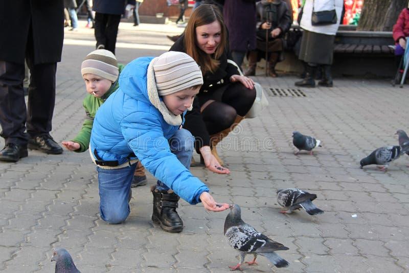 Τα αγόρια με τη μητέρα στα τετραγωνικά περιστέρια τροφών στοκ φωτογραφία με δικαίωμα ελεύθερης χρήσης