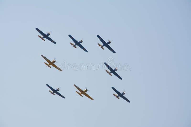 Τα αεροπλάνα από το διεθνή αέρα του Βουκουρεστι'ου παρουσιάζουν στοκ εικόνες