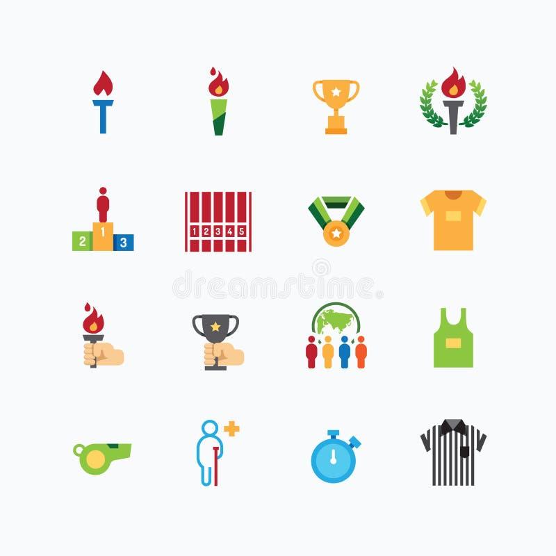 Τα αθλητικά εικονίδια χρωματίζουν το επίπεδο διάνυσμα σχεδίου γραμμών απεικόνιση αποθεμάτων
