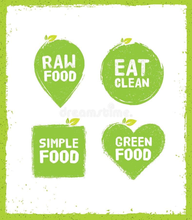Τα ακατέργαστα τρόφιμα τρώνε την καθαρή διανυσματική έννοια Detox διατροφής Πράσινα στοιχεία σχεδίου Eco στο υπόβαθρο σκουριάς διανυσματική απεικόνιση