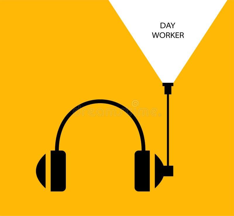 Τα ακουστικά επισημαίνουν άσπρο κίτρινο απεικόνιση αποθεμάτων