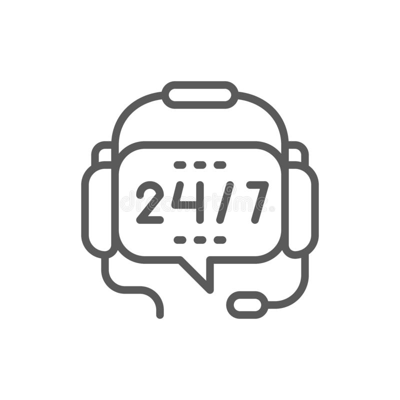 Τα ακουστικά με το μικρόφωνο, εικοσιτετράωρη υπηρεσία, σταματούν μη το εικονίδιο γραμμών υποστήριξης διανυσματική απεικόνιση