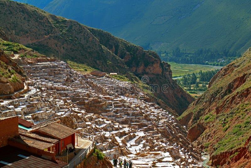 Τα αλατισμένα τηγάνια Salineras de Maras, η ιερή κοιλάδα του Incas, περιοχή Cusco, του Περού στοκ εικόνα