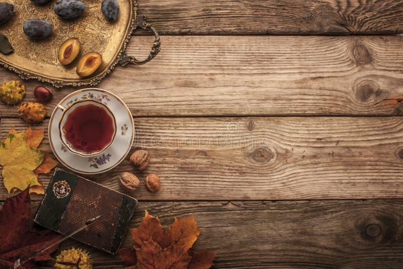 Τα δαμάσκηνα, τα καρύδια και τα φύλλα με το εκλεκτής ποιότητας σημειωματάριο και το τσάι με το φίλτρο ταινιών επηρεάζουν το υπόβα στοκ εικόνα