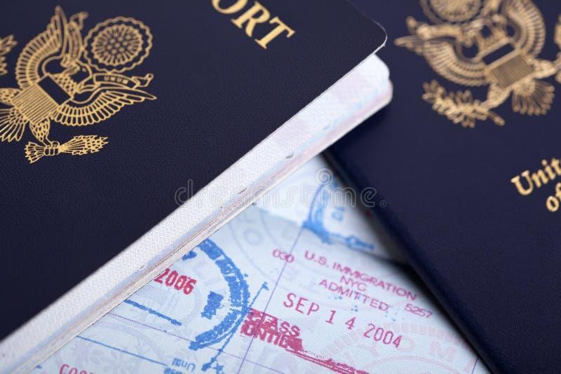 Αμερικανικό υπόβαθρο διαβατηρίων & γραμματοσήμων μετανάστευσης στοκ εικόνα με δικαίωμα ελεύθερης χρήσης