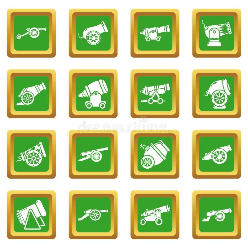 Τα αναδρομικά εικονίδια πυροβόλων καθορισμένα το πράσινο τετραγωνικό διάνυσμα ελεύθερη απεικόνιση δικαιώματος