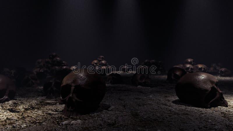 Τα ανθρώπινα κρανία στο σκοτεινό δωμάτιο τρισδιάστατο δίνουν απεικόνιση αποθεμάτων