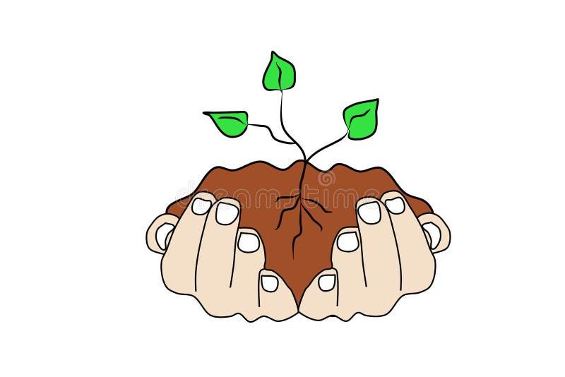 Τα ανθρώπινα χέρια κρατούν το χώμα με έναν πράσινο νεαρό βλαστό Προσοχή εγκαταστάσεων απεικόνιση αποθεμάτων