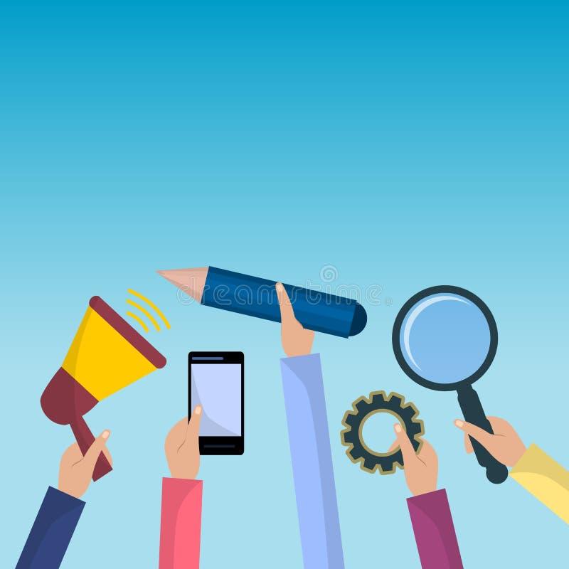 Τα ανθρώπινα χέρια κρατούν Megaphone, εργαλείο, smartphone, μάνδρα, και πιό magnifier Επίπεδη απεικόνιση απεικόνιση αποθεμάτων
