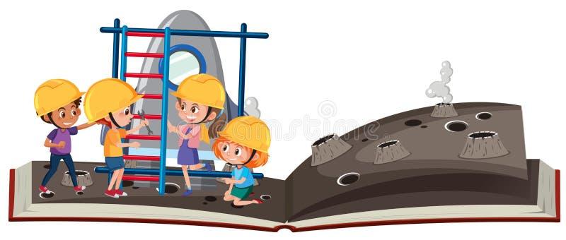 Τα ανοικτά παιδιά βιβλίων ερευνούν το διάστημα ελεύθερη απεικόνιση δικαιώματος