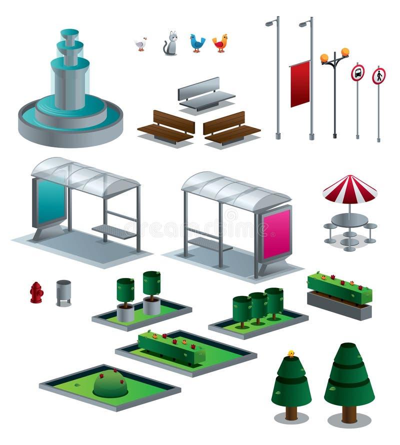 Τα αντικείμενα της πόλης απομόνωσαν το isometric σύνολο διανυσματική απεικόνιση