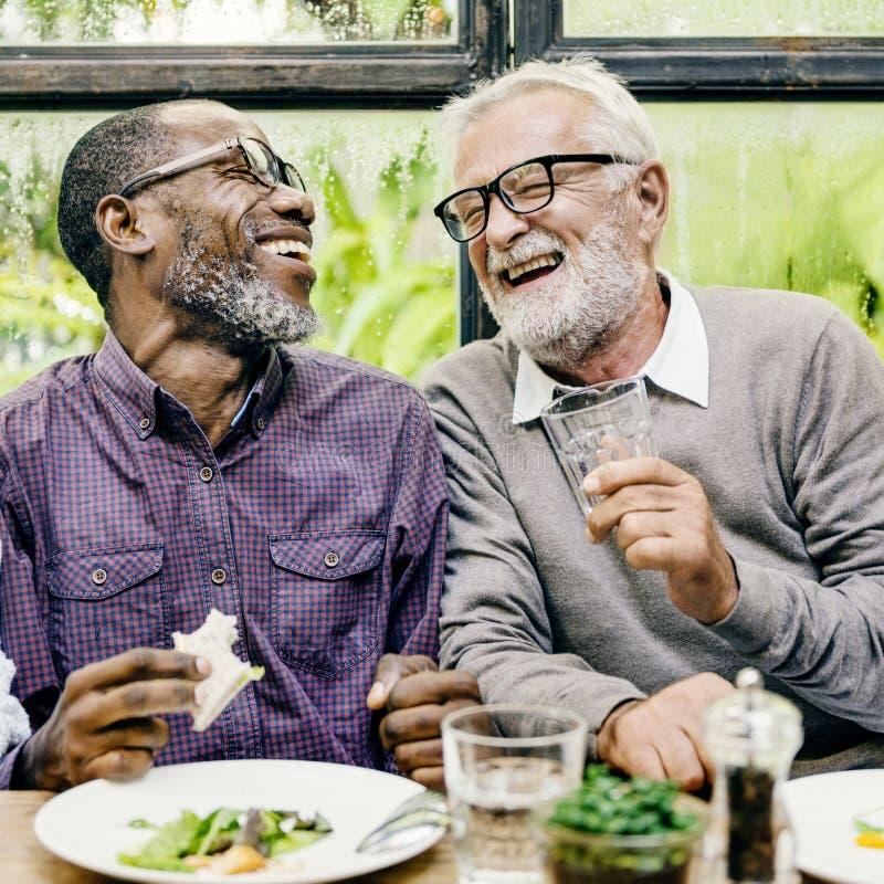 Τα ανώτερα άτομα χαλαρώνουν να δειπνήσουν τρόπου ζωής την έννοια στοκ εικόνα με δικαίωμα ελεύθερης χρήσης