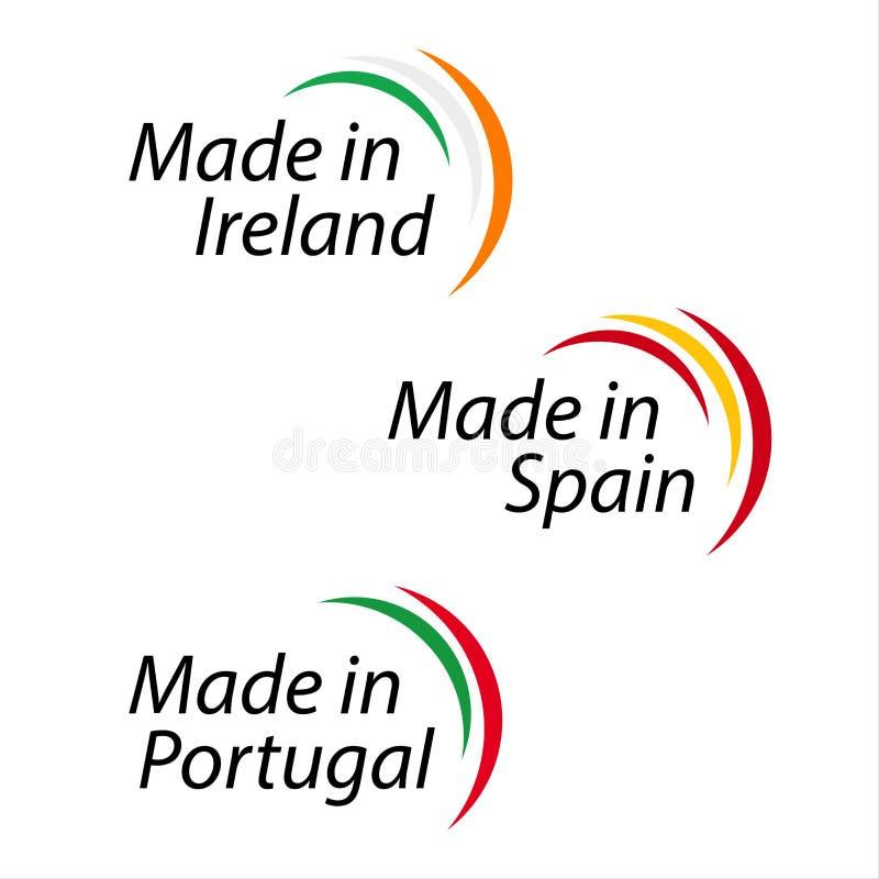 Τα απλά λογότυπα έκαναν στην Ιρλανδία, που κατασκευάστηκε στην Ισπανία, που κατασκευάστηκε στην Πορτογαλία διανυσματική απεικόνιση