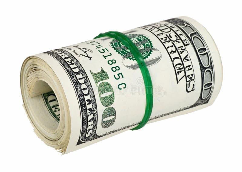 τα απομονωμένα χρήματα κύλησαν το λευκό στοκ εικόνα με δικαίωμα ελεύθερης χρήσης