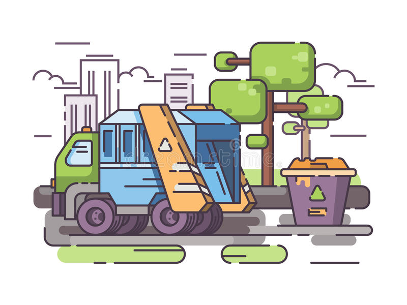 Τα απορρίματα φορτηγών συλλέγουν τα απορρίμματα απεικόνιση αποθεμάτων