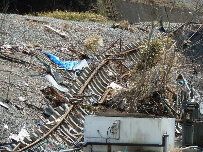 Τα αποτελέσματα του τσουνάμι στην Ιαπωνία Η καταστροφή συνέβη στην Ιαπωνία το 2011 στοκ εικόνα με δικαίωμα ελεύθερης χρήσης
