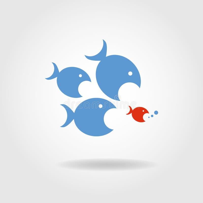 Τα αρπακτικά ψάρια ακολουθούν το θήραμα διανυσματική απεικόνιση