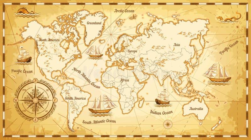 Τα αρχαίες σκάφη και οι ήπειροι παγκόσμιων χαρτών περιτρηγυρίζουν τη θαλάσσια ναυσιπλοΐα διανυσματική απεικόνιση