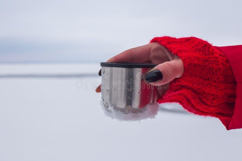 Τα ασημένια thermos με τον καφέ ή το τσάι είναι στο χιόνι στη χιονισμένη όχθη ποταμού υποβάθρου στοκ φωτογραφία με δικαίωμα ελεύθερης χρήσης