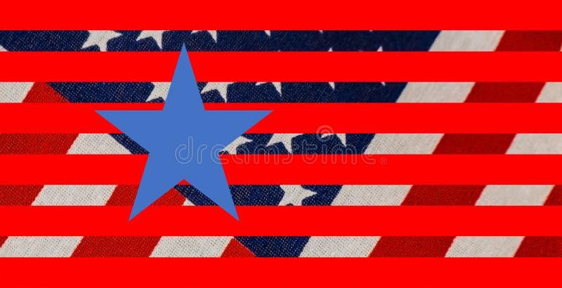 Τα αστέρια και υπόβαθρο λωρίδων με την υφαμένη σημαία στο υπόβαθρο και τα γραφικά αστέρια και τα λωρίδες και ένα τελειοποιούν το  απεικόνιση αποθεμάτων