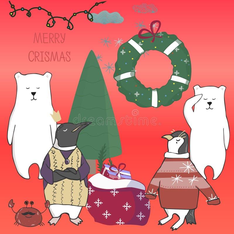 Τα αστεία και χαριτωμένα ζώα penguins αντέχουν και χριστουγεννιάτικο δέντρο Χαρούμενα Χριστούγεννα και κάρτα καλής χρονιάς Κάρτα  απεικόνιση αποθεμάτων