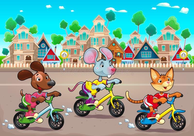 Τα αστεία κατοικίδια ζώα οδηγούν τα ποδήλατα στην πόλη απεικόνιση αποθεμάτων