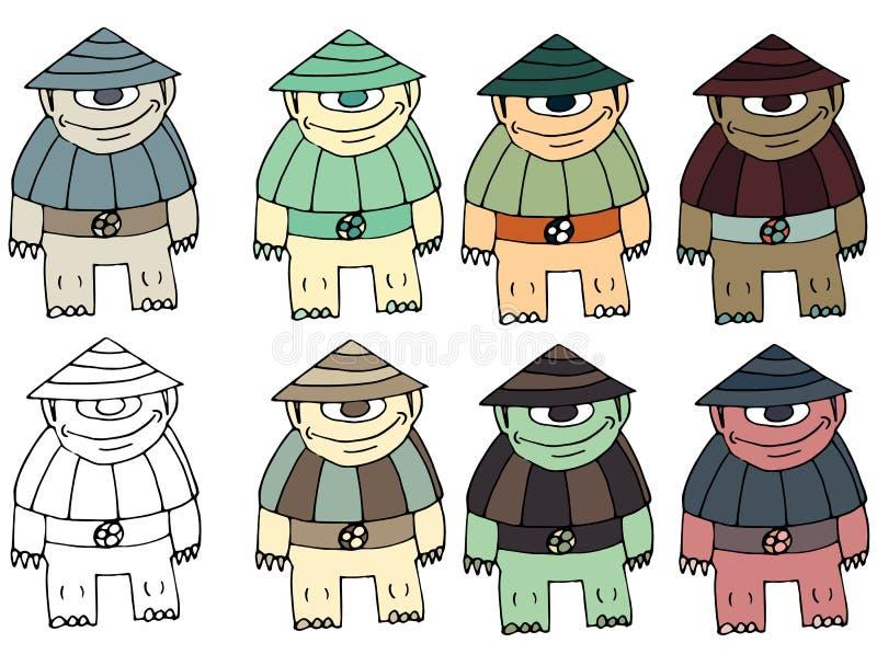 Τα αστεία κινούμενα σχέδια που χρωματίζονται γράφουν το χέρι - που γίνεται σύρετε doodle τη χελώνα αλλοδαπών τεράτων ελεύθερη απεικόνιση δικαιώματος